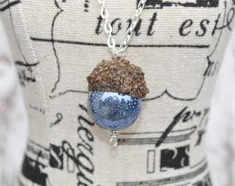 Acorn Necklace - Silver Jewelry - Blue
