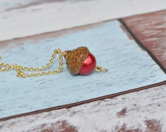 Necklace - Acorn Jewelry - Red - Gold