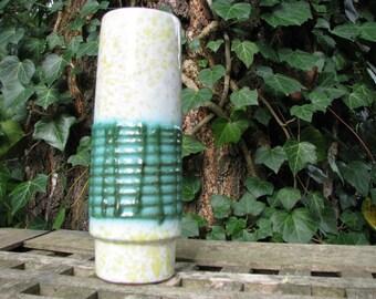 Fat Lava Vase Vintage VEB Strehla No. 3015 – 1960s 50s East (!) German GDR Pottery – Yellow Green White – Mid Century Modernist Home Décor