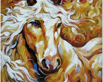 Signed Hand Painted Impressionist Horse Painting On Canvas - Certificate of Authenticity Included