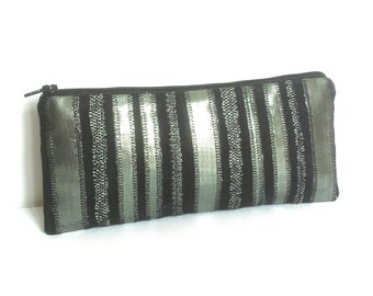 black  purse. black clutch purse. black faux suede purse. silver purse birthday gift for her..