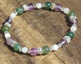 Weight Loss, Luck & Wealth Bracelet or Anklet for New Beginnings, Calm, Protection and Confidence Purple Fluorite, Moonstone and Moss Agate!