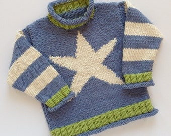 Hand knitted - baby jumper in mid blue, cream and green, with star detail,