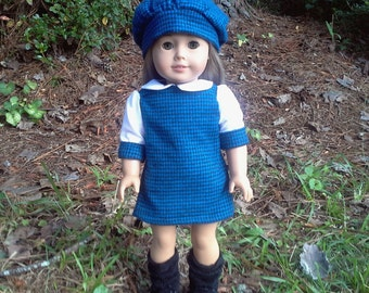 american girl doll blue dress and matching hat