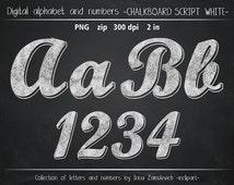 Chalk clipart. Chalk alphabet /numbers, letters & symbols/ clip art. Chalkboard script font clipart. Instant download PNG. Business use.