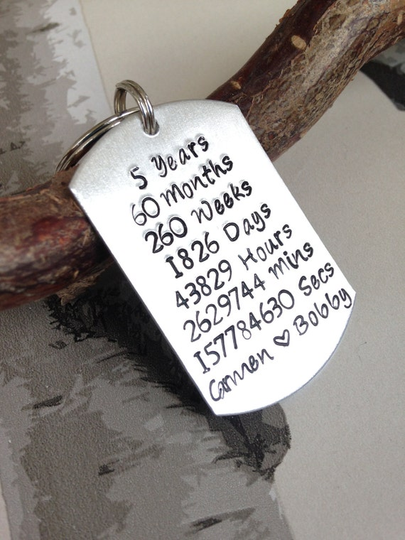 5 Year Wedding Gift : Year Anniversary Gift - 5 Year Keyring - Custom Mens Keychain ...