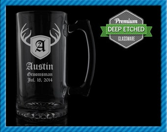 Groomsmen Gift, Personalized Beer Mugs, Personalized Deer Antler Monogram 26.5 oz Etched Mugs, Groomsmen Gift Wedding
