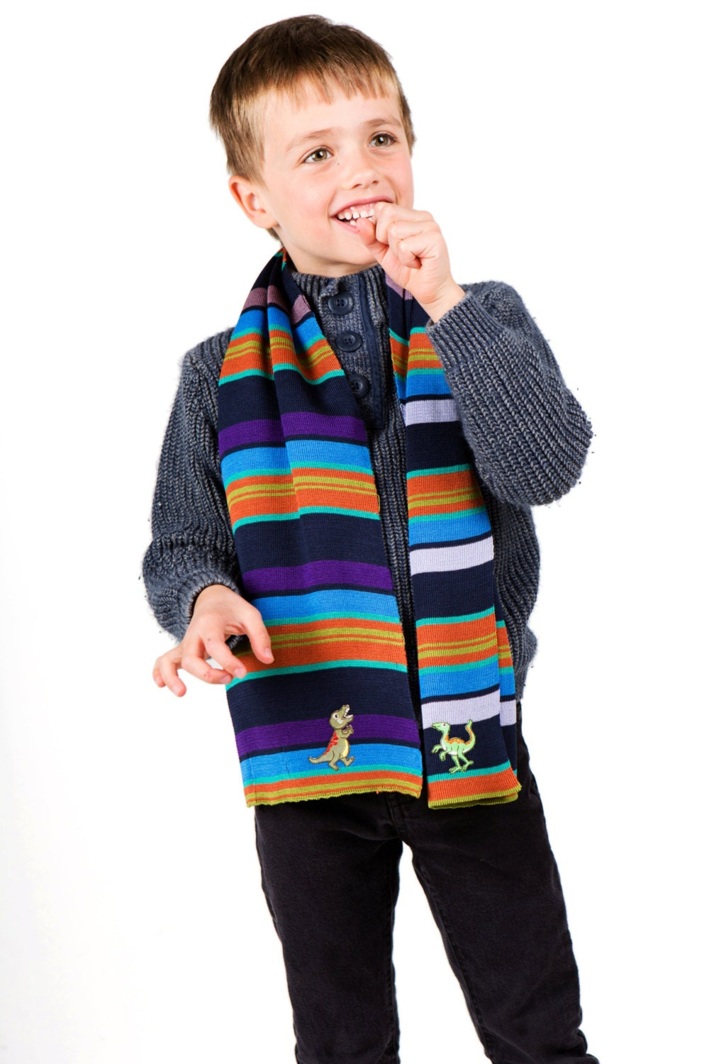dinosaurs scarf boys scarf personalised scarf striped