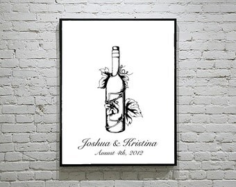 Wedding Thumbprint Guest Book Alternative with Wine Bottle