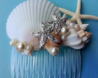 Seashell & Starfish Hair Comb Destination Beach Wedding