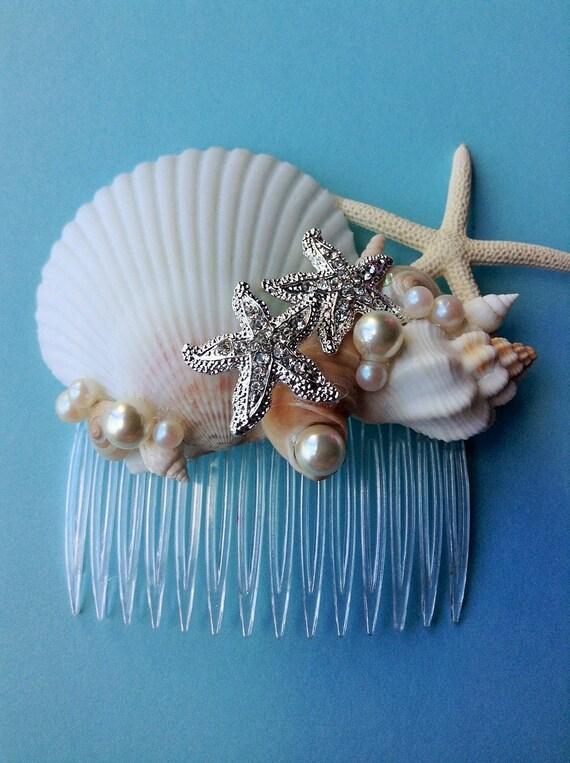 Seashell starfish hair comb destination beach wedding for Seashells for hair