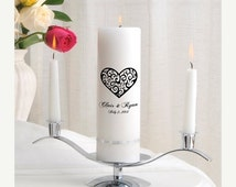 Personalized Wedding Unity Candle Set - Vintage Hearts_330