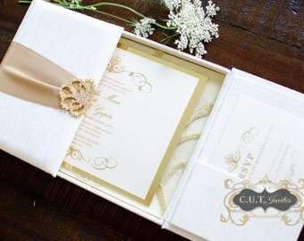 Ivory & Gold Silk Luxury Boxed Wedding and Event Invitation - Couture