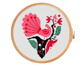 Peacock bird on the tree heart - cross stitch pattern - Valentine's Day modern cross stitch love instant download red black