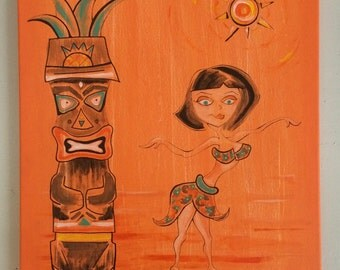 Original Painting, Mid Century Inspired Tiki Dancer