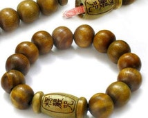 Long Stretchy Tibetan 12mm Carved Buddha Green Sandalwood Mantra Scroll Yoga Meditation Buddhist Prayer Beads Wrist Mala Bracelet -7""