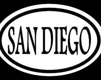 San Diego Sticker Decal Oval California Earthquake Love Beach Sunny Tan Love