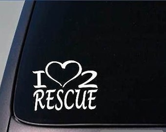 I Heart To Rescue Sticker *H245* 8 Inch Wide Vinyl Dog Cat Horse Shelter