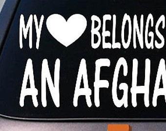 My Heart Belongs To An Afghan Sticker Decal *D891*