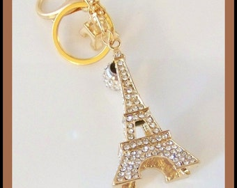 Paris-Eiffel Tower Key Chain-Swarovski Crystals-14 ct Gold Plated Key Chain-Accessories-Paris-Jewelry Gift-Christmas Gift-Celestial Luxuries