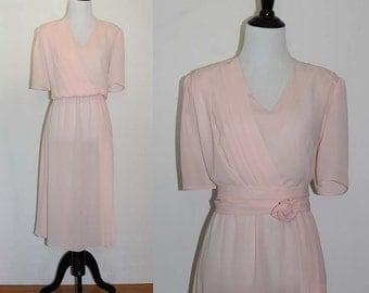 Vintage 1980s Monica Richards Pleated Peach Dress