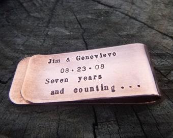 7th Anniversary Copper Money Clip, Anniversary Gift, Copper Anniversary, Gift For Men, Gift For Husband, Personalized Money Clip