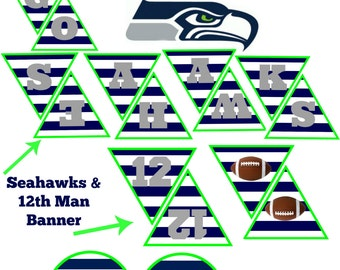 Seattle Seahawks Party Pack! INSTANT DOWNLOAD for Seahawks Banner & Cupcake and food toppers.