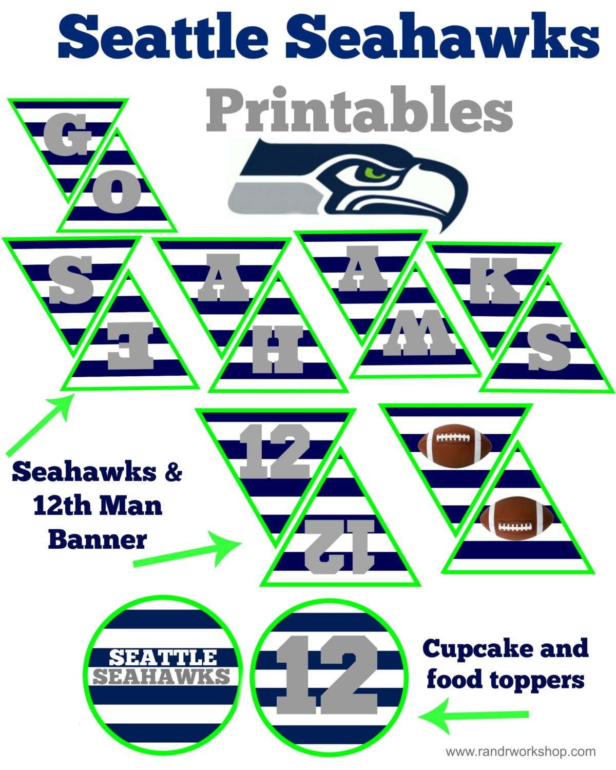 Seattle Seahawks Party Pack Instant Download For Seahawks
