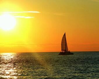 Sailing into the Sunset on Lake Michigan, Fine Art Photography, Charlevoix, Michigan, Boats