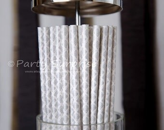 Silver Straws Damask,Silver and White Damask Paper Straws,Silver Wedding Straws, Silver Anniversary Straws,Vintage Silver Straws