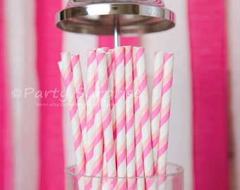 Paper Straws Pink and white, Baby shower straws, Candy striped pink straws, retro pink stripe straws, vintage wedding decorations