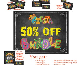 Printable Fiesta Bundle Pack of chalkboard signs for Graduation, Birthday, Weddings Retirement and more - Save 50% - 75 Dollar Value
