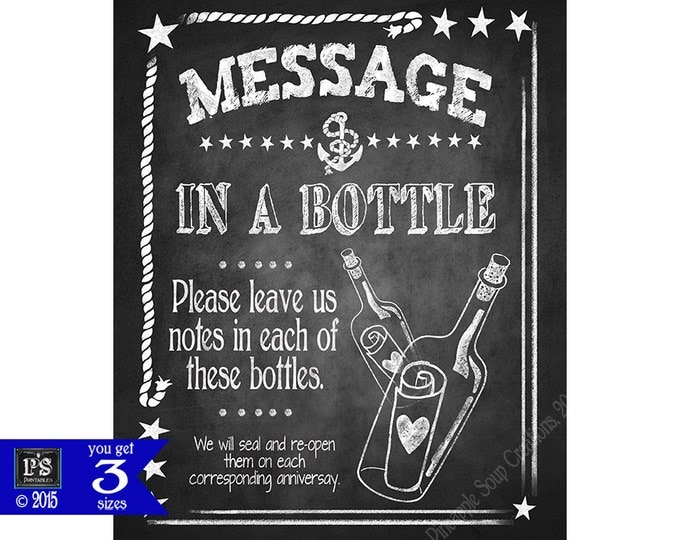 Nautical Wedding Message in a bottle Guestbook Alternative Chalkboard sign - DIY - Nautical Collection