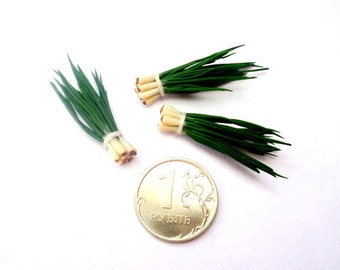 Dollhouse miniature 1:12 Green onions, a bunch of onion (1 bunch)