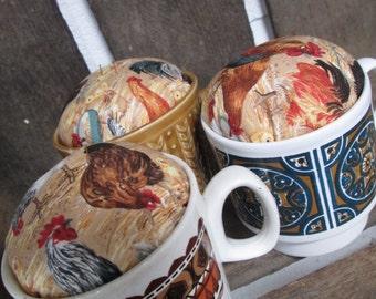 Pin cushion, Tea Cup Pin Cushion - Chicken and retro  Boxed