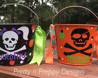 Trick or treat, Party bucket, skelton candy bowl, Halloween decor, kids bucket
