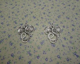 20 pcs of antique silver color metal dragon pendant charm , 35*28mm , MP548