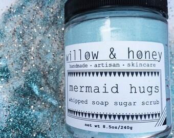 Mermaid hugs whipped soap sugar scrub - foaming bath whip, whipped soap sugar scrub, exfoliating sugar scrub, beachy scent