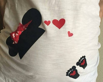 Iron on for maternity shirt, Disney Mickey or Minnie Mouse hat with baby footprints.