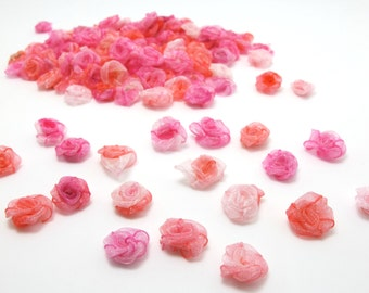 100 Pieces Chiffon Rose Flower Buds|Mix Pink Ombre|Flower Applique|Fabric Flower|Baby Doll|Craft Bow|Accessories Making