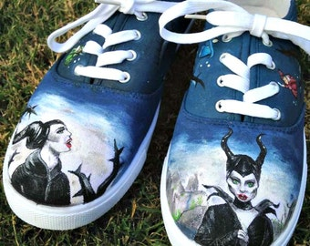 Maleficent Shoes Disney Inspired hand painted white canvas sneakers custom shoes for Men and Women