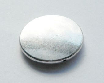 Large Antique Silver Focal Heavy Disc Pendant Bead, 32mm