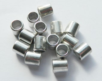15 Antique Silver Tube Metal beads 8x9mm Spacer, large Hole