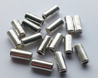 15 Antique Silver Metal Tube Spacer Beads 11x4mm Hole 2.5mm