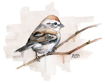 "Sparrow Painting - Print from Original Watercolor Painting, ""Sparrow"", Songbird, Bird Prints, Watercolor Bird"