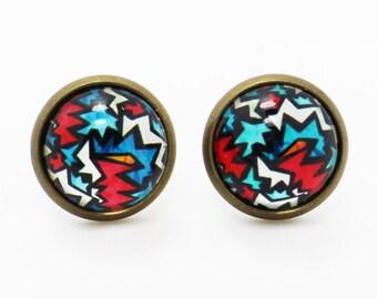Graffiti Earrings, Green and Red Earrings, Street Fashion Accessories, Hipster Earrings, Cool Green Earrings, Hippie Earrings, Pattern Stud