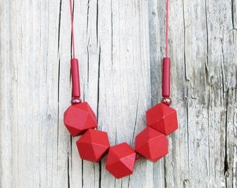 Red Wooden Necklace, Geometric Necklace, Long Necklace, Bold Necklace, Boho Necklace