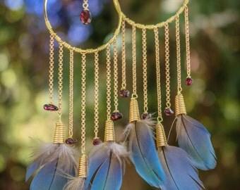 Garnet and Macaw Dreamcatcher Earrings
