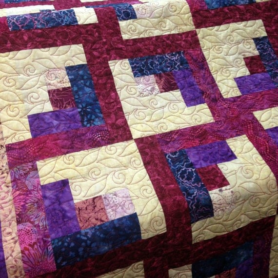 Twin bed quilt batik fabric quilt with log cabin by for Bed quilting designs