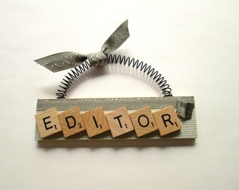Editor Newspaper Scrabble Tile Ornament